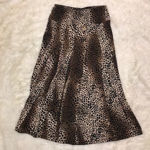 Leopard Maxi Skirt Lapis flowy swing skirt Medium